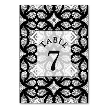 Wedding Themed Black and white Wedding Table Number Card