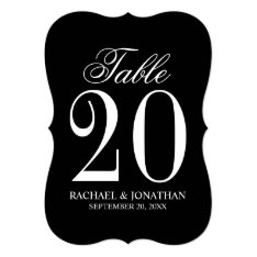 Black And White Wedding Table Number Card at Zazzle
