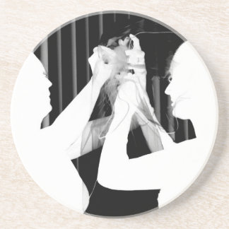Black and white wedding veil by bride &bridesmaid drink coaster