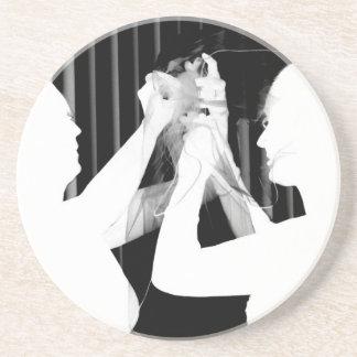 Black and white wedding veil by bride &bridesmaid drink coaster