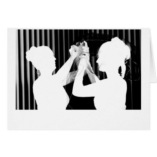 Black and white wedding veil by bride &bridesmaid greeting card