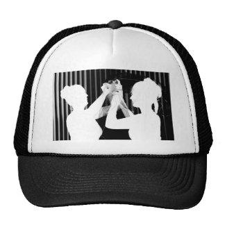 Black and white wedding veil by bride &bridesmaid trucker hat