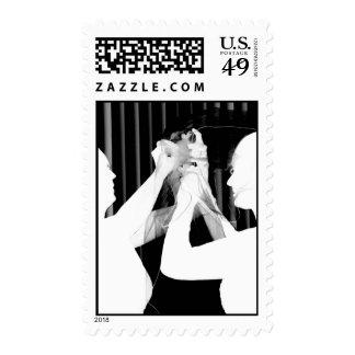 Black and white wedding veil by bride &bridesmaid postage stamp