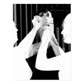 Black and white wedding veil by bride &bridesmaid postcard