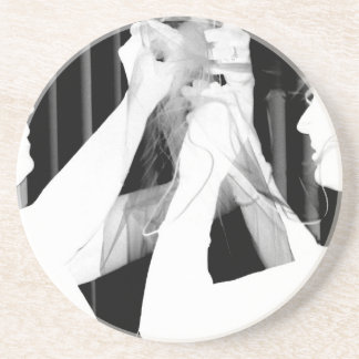 Black and white wedding veil by bride &bridesmaid sandstone coaster