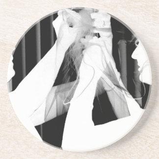 Black and white wedding veil by bride &bridesmaid sandstone coaster
