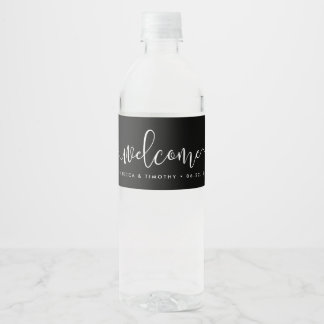 Black and White Wedding Welcome Water Bottle Label