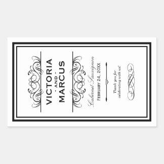 Black and White Wedding Wine Bottle Monogram Favor Rectangular Sticker