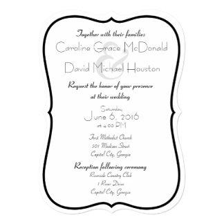 Black and White Wedding with Herringbone Back Card