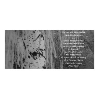 Black and White Weeping Birch Wedding 4x9.25 Paper Invitation Card