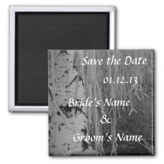 Black and White Weeping Birch Wedding Magnet