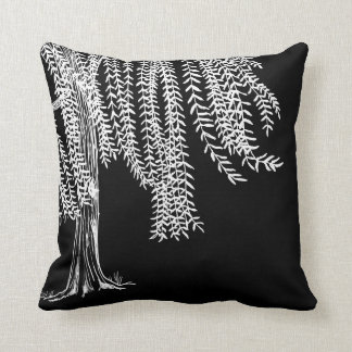 Black and white Weeping Willow Tree Pillows