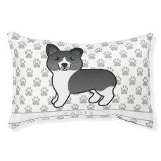 Black And White Welsh Corgi Pembroke Dog & Name Pet Bed