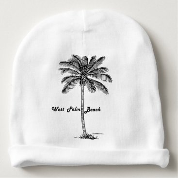 Beach Themed Black and white West Palm Beach & Palm design Baby Beanie