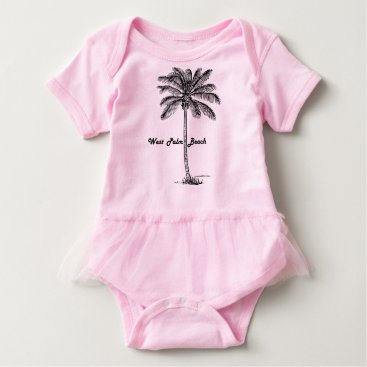 Beach Themed Black and white West Palm Beach & Palm design Baby Bodysuit