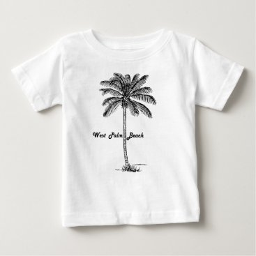 Beach Themed Black and white West Palm Beach & Palm design Baby T-Shirt