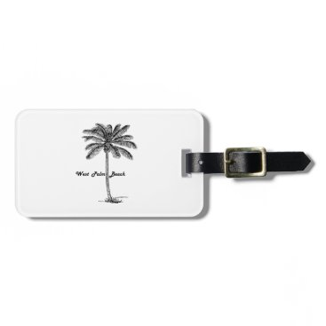 Beach Themed Black and white West Palm Beach & Palm design Bag Tag