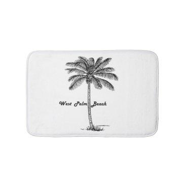Beach Themed Black and white West Palm Beach & Palm design Bath Mat