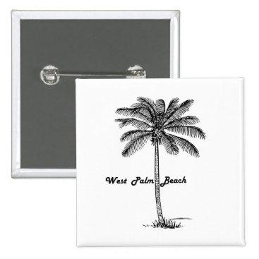 Beach Themed Black and white West Palm Beach & Palm design Button
