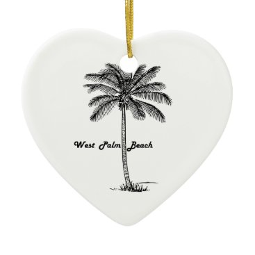 Beach Themed Black and white West Palm Beach & Palm design Ceramic Ornament