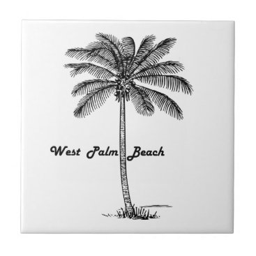 Beach Themed Black and white West Palm Beach & Palm design Ceramic Tile
