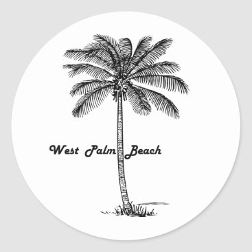Beach Themed Black and white West Palm Beach & Palm design Classic Round Sticker