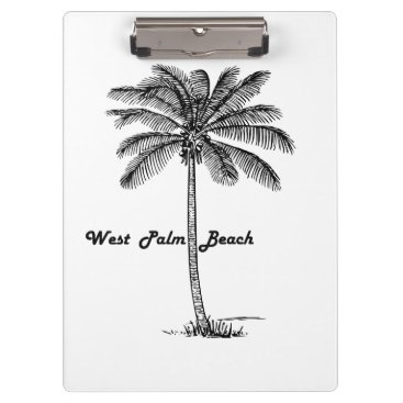 Beach Themed Black and white West Palm Beach & Palm design Clipboard