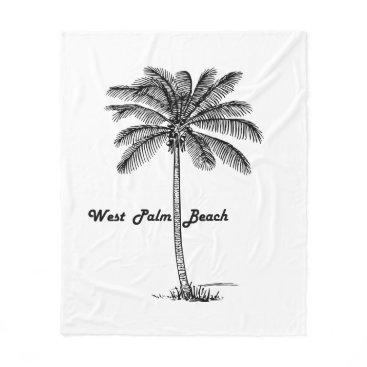 Beach Themed Black and white West Palm Beach & Palm design Fleece Blanket