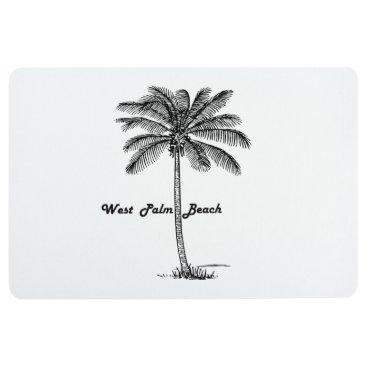 Beach Themed Black and white West Palm Beach & Palm design Floor Mat