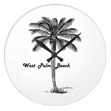 Beach Themed Black and white West Palm Beach & Palm design Large Clock