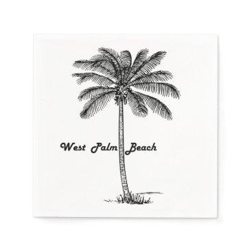 Beach Themed Black and white West Palm Beach & Palm design Napkin