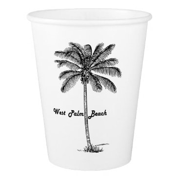 Beach Themed Black and white West Palm Beach & Palm design Paper Cup