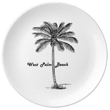 Beach Themed Black and white West Palm Beach & Palm design Porcelain Plate