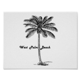 Black and white West Palm Beach & Palm design Poster