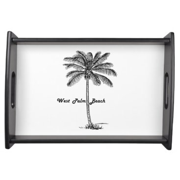 Beach Themed Black and white West Palm Beach & Palm design Serving Tray