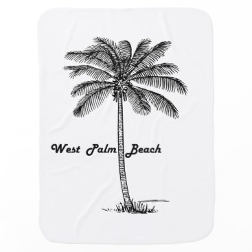 Beach Themed Black and white West Palm Beach & Palm design Swaddle Blanket