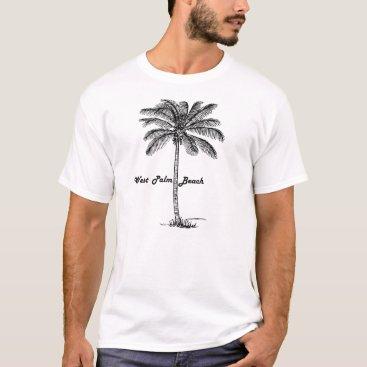Beach Themed Black and white West Palm Beach & Palm design T-Shirt