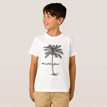 Beach Themed Black and white West Palm Beach & Palm design T-Shirt