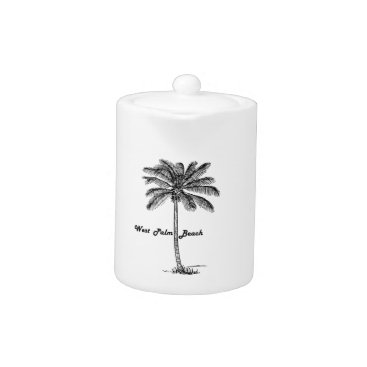 Beach Themed Black and white West Palm Beach & Palm design Teapot