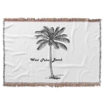 Beach Themed Black and white West Palm Beach & Palm design Throw Blanket