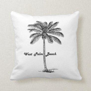 Beach Themed Black and white West Palm Beach & Palm design Throw Pillow
