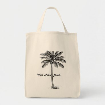 Beach Themed Black and white West Palm Beach & Palm design Tote Bag