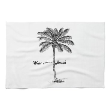 Beach Themed Black and white West Palm Beach & Palm design Towels
