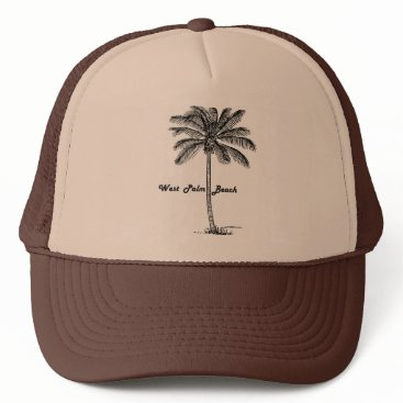 Beach Themed Black and white West Palm Beach & Palm design Trucker Hat