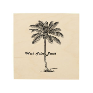 Black and white West Palm Beach & Palm design Wood Print