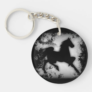 Black and White Western-style Horse Silhouette Single-Sided Round Acrylic Keychain