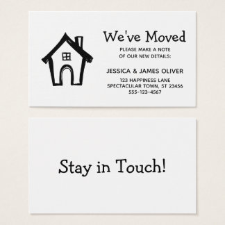 """Black and White """"We've Moved"""" Card w/ Little House"""