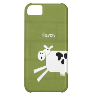 Black and White Whimsical Cow Personalized Cover For iPhone 5C