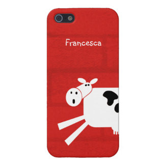 Black and White Whimsical Cow Personalized Cover For iPhone SE/5/5s