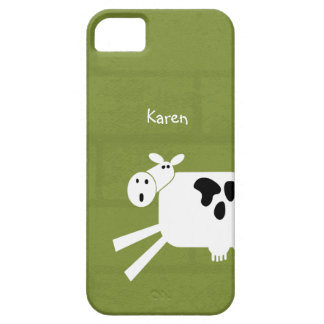 Black and White Whimsical Cow Personalized Name iPhone SE/5/5s Case